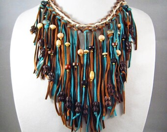 SUEDE FRINGE NECKLACE and Earrings