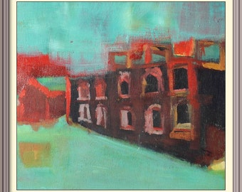 Derelict House Abstract painting oil on wood