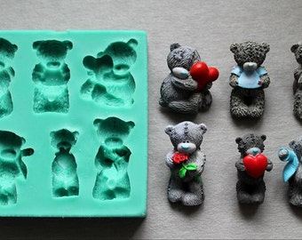 Silicone Mould BEARS LOVE Sugarcraft Cake Decorating Fondant / fimo mold