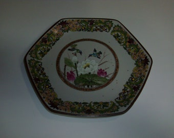 Japan Hexagon Bird Lily Pad Pond Porcelain China Decorative 8 1/4 inch Plate