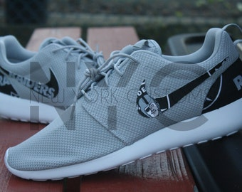 Oakland Raiders Football Nike Roshe One Run Wolf Grey Custom Men Women & Kids