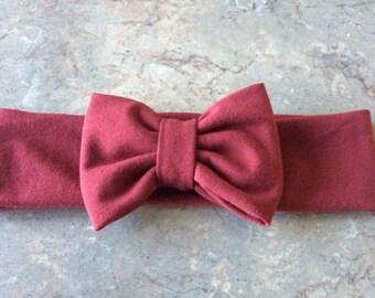 Burgundy Stretch Jersey knit Headband with Bow, Bow Head Wrap Jersey Headband, Ear Warmer- Choose Size