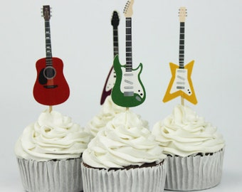 READY TO SHIP Guitar Themed Cupcake Toppers, Music, Toppers, Picks, Cake Toppers, Cake Topper Pick, Cupcake Picks, Birthday, Baby