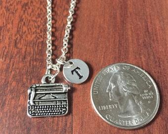 Typewriter initial necklace, typewriter jewelry, gift for writer, typist necklace, writer necklace, silver typewriter necklace