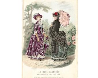 Mode de Paris, La Mode Illustrée, Hand Colored French Lithographic Print, 1870-90, Coussinet Dress