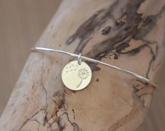 Bracelet in sterling silver bangle with charm medal dandelion - minimalist bracelet - fine silver bracelet - Charm Bracelet