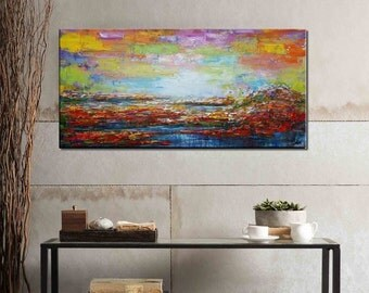 Landscape Painting, Large Painting, Oil Painting, Large Art, Canvas Art, Framed Wall Art, Abstract Art, Impasto Texture Oil Painting