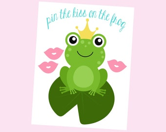 Pin The Kiss On The Frog. Printable Game for Princess Party. Frog Party. Princess and the Frog.  Instant Download
