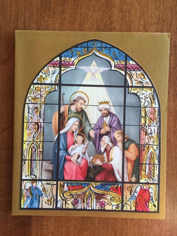 beautiful vintage unused religious christmas card nativity