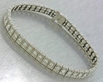 1920s Antique Art Deco Estate Platinum 3.25ctw Diamond Tennis Bracelet