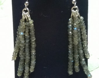 Micro Faceted Rondelles Earrings Sterling silver Labradorite Women Gifts for Her