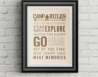 Camp Rules Print Camping Rules RV Decor