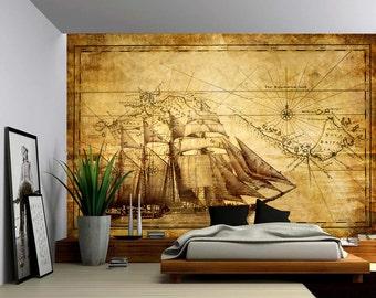 Vintage Sailing Map   Large Wall Mural, Self Adhesive Vinyl Wallpaper, Peel  U0026 Part 92