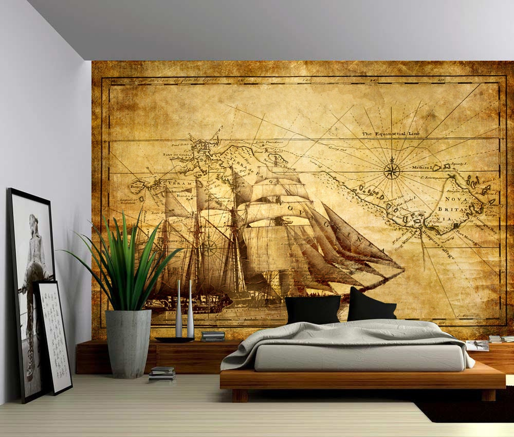 Vintage Sailing Map Large Wall Mural Self Adhesive Vinyl