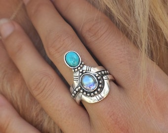 Stackable sterling silver turquoise moonstone rings | set of three rings | semiprecious rings | puzzle rings | stacking rings