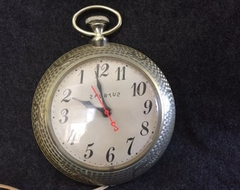 Vintage Spartus pocket watch novelty electric wall clock