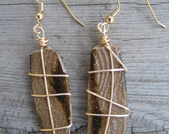 Brown textured pottery shard dangle earrings
