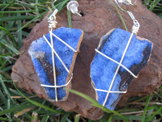 Blue and black pottery shard dangle earrings