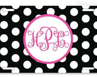 License Plate/Polka Dot/Personalized/Monogram/Express yourself/Vibrant Colors/Great Gift Idea/Sweet 16/Stylish/Make It Yours/