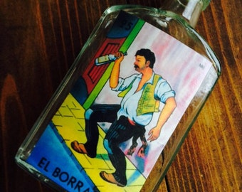 Price Reduced to Sell Loteria Chicana El Boracho whiskey Flask OOAK