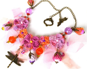 purple dragonfly necklace, boho chic necklace, mori girl dragonfly necklace, unusual shabby chic bib, purple flower necklace,crochet jewelry