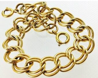 "20% OFF Everything SALE Only 7.50 Was 14.99   Vintage 80s Gold Open Fancy Link Bracelet XL 7.5"" Large Link Chain Bracelet Gold Chain Bracele"