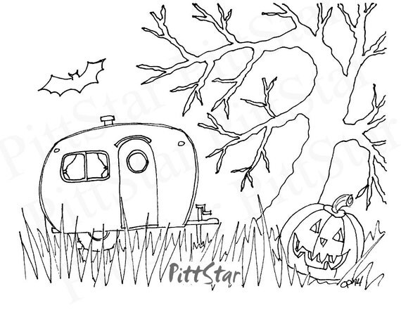 Instant Download Halloween Retro Travel Trailer In Scary