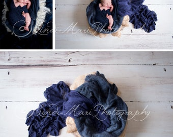 Digital Backdrop Newborn Photography Prop (Blue Wood)