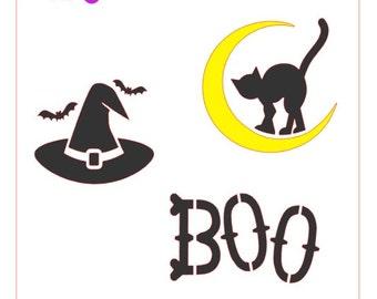 Halloween Boo Cat Witch Hat Stencil