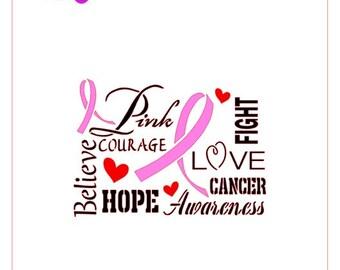 Breast Cancer Pink Ribbon Subway Stencil