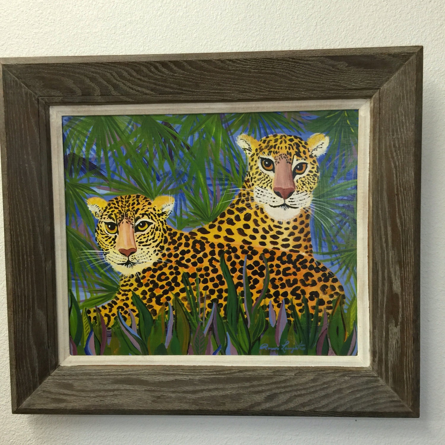 Folk Art Painting Vintage Wall Art Leopard Painting Framed