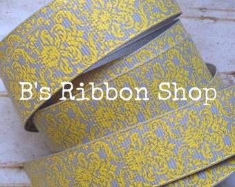 "7/8"" Daffodil Yellow Glitter Damask on Gray USDR 1 yard grosgrain ribbon"