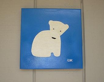 Sitting Polar Bear #2 Fabric Wall Art