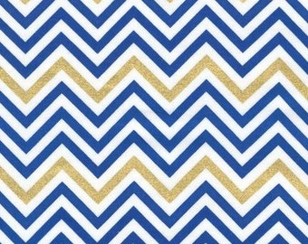 Robert Kaufman by Ann Kelle Remix Mini Chevron Royal (Half metre)