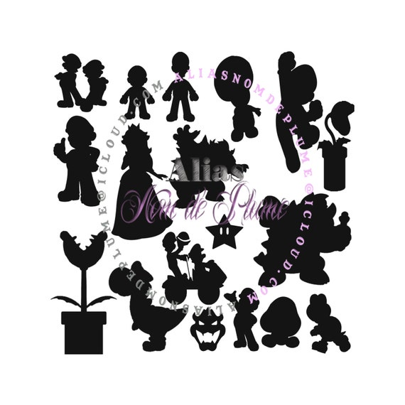 Items similar to Mario Luigi Inspired Silhouette Set SVG ...