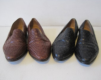 HUNT CLUB Dress Shoes Size 9 M Women's Braided Leather Lot of 2 Vintage  A1031