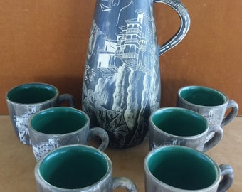 Vintage souvenir pitcher and mugs from Cuenca