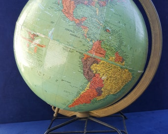 Replogle 12 inch globe with iron stand