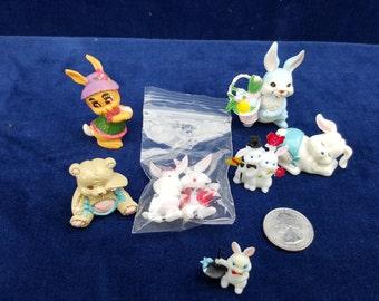 lot of vintage plastic rabbit figurines