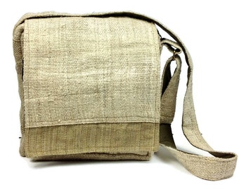 Hemp Messenger Bag. Ipad Bag with many pockets. Handmade with Natural Hemp Fabric. Heavy Duty and  Unique.
