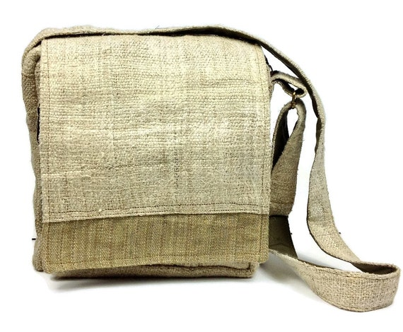 Hemp Messenger Bag. Ipad Bag with many pockets. Handmade with
