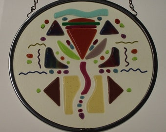 Stained Glass Window Panel Suncatcher - 8 Inch - Fused Abstract Contemporary Original Design - F152511B