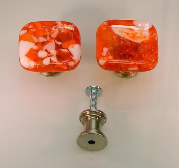 decorative art fused glass cabinet door knobs drawer pulls kitchen hardware orange orange. Black Bedroom Furniture Sets. Home Design Ideas