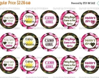 30%OFF Girls Camoflauge Camo 1 Inch Circles Bottlecap Images ~ Daddy's Girl ~  Camo Cutie ~ Instant Download ~ Printable Image Sheet CM-156