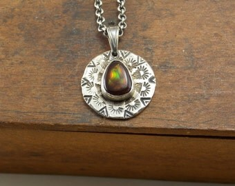 Sterling Silver Hand Cast Hand Stamped Fire Agate Circle Necklace