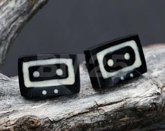 A Pair of The Hidden Mix Tape Handcarved Earring Stud