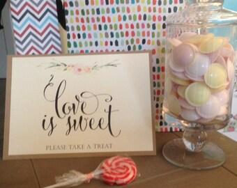 Vintage/Rustic 'Alexa' Love is Sweet Sign for Weddings, Parties, Christenings etc-FREE UK P&P!