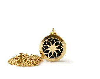 Petite Gold Diffuser Pendant-Stainless Steel-Diffuser Pendant-Free Shipping-Essential Oil-Lotus