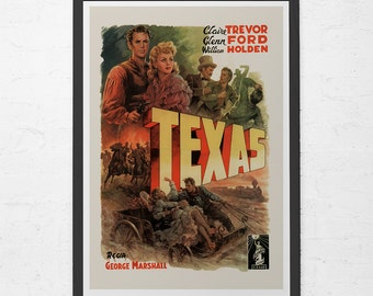 VINTAGE MOVIE POSTER - Texas Movie Poster - William Holden Poster, Glenn Ford Movie, Home Decor Wall Art