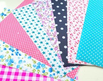 Set of 8 self adhesive fabric sheets